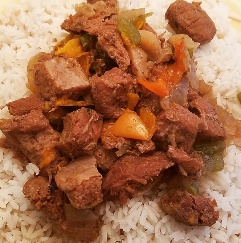 Stewed Beef Tips with Sweet Peppers and Onions